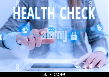 Writing note showing Health Check. Business concept for Medical Examination Wellness and general state Inspection Female human wear formal work suit p - Stock Photo