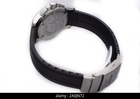 Saint-Imier, Switzerland September 15 2019 - Longines HydroConquest Chronograph Black Dial Men's Watch swiss made luxury wrist watch close-up macro - Stock Photo