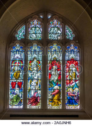 Stained glass window in the west tower of St Andrew's Church, Farnham, Surrey, UK, depicting Jacob's Ladder and Moses at the Burning Bush - Stock Photo