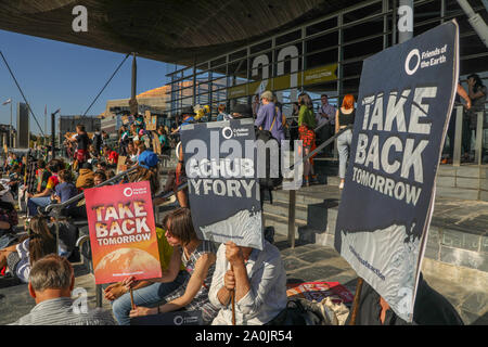 Welsh Senedd, Cardiff, Wales, UK.20th September 2019. Protesters take part in the Global Climate Strike in front of the Welsh Senedd in Cardiff Bay, Wales. Credit: Haydn Denman/Alamy Live News. - Stock Photo