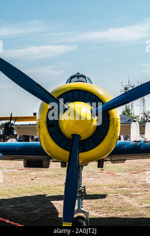 Historic aerobatic  aircraft propeller front - Stock Photo