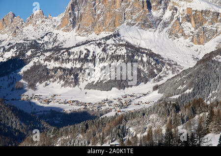 View On Village Kolfuschg And Mount Sassongher With Fresh Snow - Stock Photo