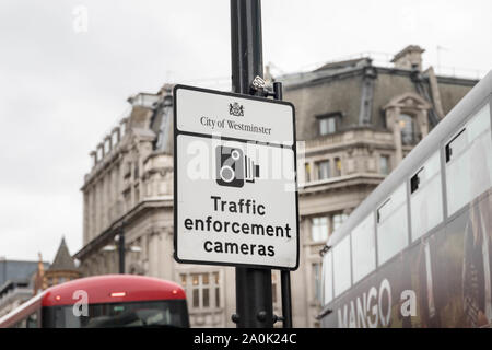 Traffic enforcement cameras  pannel warning sign in london roads traffic - Stock Photo