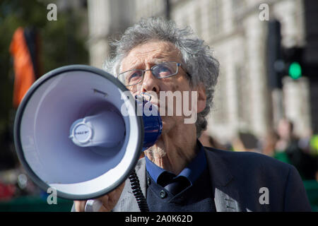 Westminster, London UK. 20 September 2019. Global Climate Strike Protest: Piers Corbyn, brother of Labour leader Jeremy Corbyn MP outside Parliament. - Stock Photo