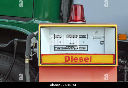 Trebus, Germany. 19th Sep, 2019. A petrol pump from GDR times is in an exhibition of the IFA-Freunde Trebus. The former German state on a small scale exists in the Brandenburg province. The IFA friends in Trebus will be offering an authentic journey through time into everyday life in the GDR on 14,000 square metres of space. Visitors indulge in memories during guided tours. Credit: Patrick Pleul/dpa-Zentralbild/ZB/dpa/Alamy Live News - Stock Photo