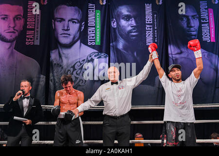 London, UK. 20th Sep, 2019. Youssef Khoumari vs Sean Davis during under fight card of Ultimate Boxxer 5 tournament at The O2 Indigo Arena on Friday, September 20, 2019 in LONDON UNITED KINGDOM. Credit: Taka Wu/Alamy Live News - Stock Photo