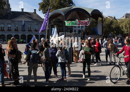emonstration in Maastricht during the global climate strike asking attention for the Sustainable Development Goals and Act for Global goals - Stock Photo