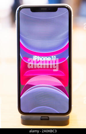 London, UK. 20th Sep, 2019. An iPhone 11 is on display at an Apple store as Apple's new line of products goes on sale in London, UK, on Sept. 20, 2019. Credit: Xinhua/Alamy Live News - Stock Photo