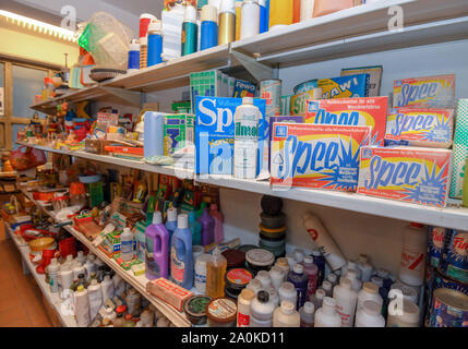 Trebus, Germany. 19th Sep, 2019. Detergents and other household products from GDR times belong to an exhibition of the IFA friends Trebus. The former German state on a small scale exists in the Brandenburg province. The IFA friends in Trebus will be offering an authentic journey through time into everyday life in the GDR on 14,000 square metres of space. Visitors indulge in memories during guided tours. Credit: Patrick Pleul/dpa-Zentralbild/ZB/dpa/Alamy Live News - Stock Photo
