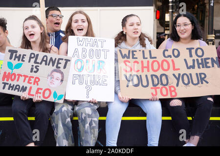 London, UK. 20th Sep, 2019. Protesters take part in the Global Climate Strike protest in central London, UK, on Sept. 20, 2019. Credit: Xinhua/Alamy Live News - Stock Photo