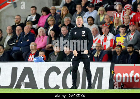 Southampton, UK. 20th Sep 2019.  Bournemouth manager Eddie Howe  during the Premier League match between Southampton and Bournemouth at St Mary's Stadium, Southampton on Friday 20th September 2019. (Credit: Jon Bromley | MI News) Photograph may only be used for newspaper and/or magazine editorial purposes, license required for commercial use Credit: MI News & Sport /Alamy Live News - Stock Photo