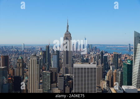 A view of lower Manhattan is seen from midtown Manhattan in New York City.