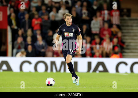 Southampton, UK. 20th Sep 2019.  Jack Stacey of Bournemouth during the Premier League match between Southampton and Bournemouth at St Mary's Stadium, Southampton on Friday 20th September 2019. (Credit: Jon Bromley | MI News) Photograph may only be used for newspaper and/or magazine editorial purposes, license required for commercial use Credit: MI News & Sport /Alamy Live News - Stock Photo