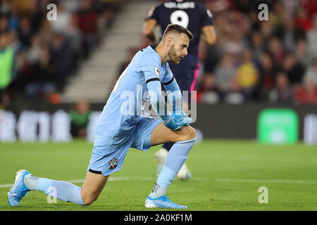 Southampton, UK. 20th Sep 2019.   Angus Gunn of Southampton during the Premier League match between Southampton and Bournemouth at St Mary's Stadium, Southampton on Friday 20th September 2019. (Credit: Jon Bromley | MI News) Photograph may only be used for newspaper and/or magazine editorial purposes, license required for commercial use Credit: MI News & Sport /Alamy Live News - Stock Photo