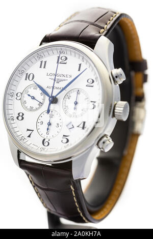 Saint-Imier, Switzerland September 15 2019 - Longines Master Collection Automatic Date Chronograph Alligator Leather Strap Watch, swiss luxury wrist - Stock Photo