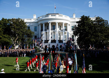 Washington DC, USA. 20th Sep, 2019. A welcome ceremony is held for Australian Prime Minister Scott Morrison at the White House in Washington DC, DC, the United States, on Sept. 20, 2019. Credit: Ting Shen/Xinhua Credit: Xinhua/Alamy Live News - Stock Photo