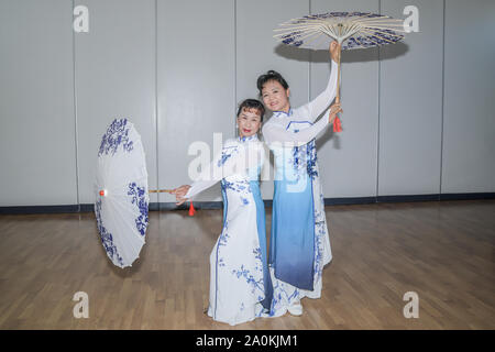 London, UK. 20th Sep, 2019. Cao Mei Lifrom China of the Huaying Ancient Rhythm Art Troupe bring Huaying Ancient Rhyme to the Sino-British cultural exchange tour, at Chingford Masonic Hall on 20th September, London, UK. Credit: Picture Capital/Alamy Live News - Stock Photo
