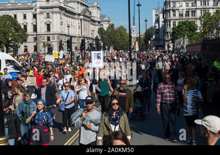 London, UK. 20 September 2019. Around 100,000 people, led by school children on strike, protested in Westminster, London, calling for urgent action to combat the climate crisis. Similar protests were held across the UK, and around the World. © Stuart Walden/ Alamy - Stock Photo