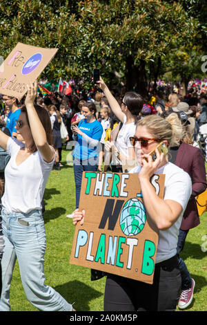 Climate change strike rally held by thoudsands of protestors in the Domain Sydney city centre,Australia - Stock Photo