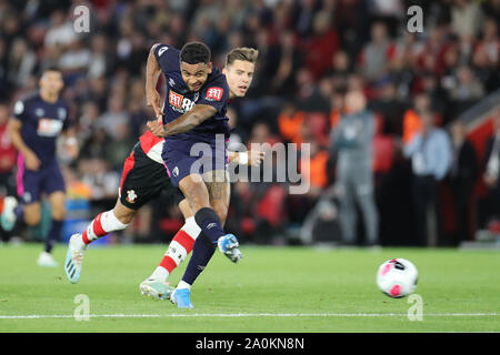 Southampton, UK. 20th Sep 2019. Bournemouth's Callum Wilsons hoots at goal during the Premier League match between Southampton and Bournemouth at St Mary's Stadium, Southampton on Friday 20th September 2019. (Credit: Jon Bromley | MI News) Photograph may only be used for newspaper and/or magazine editorial purposes, license required for commercial use Credit: MI News & Sport /Alamy Live News - Stock Photo