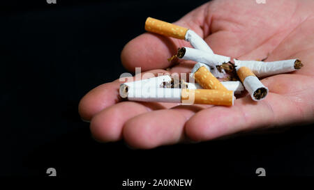 hand holding broken cigarettes in his hands. smoking cessation image - Stock Photo