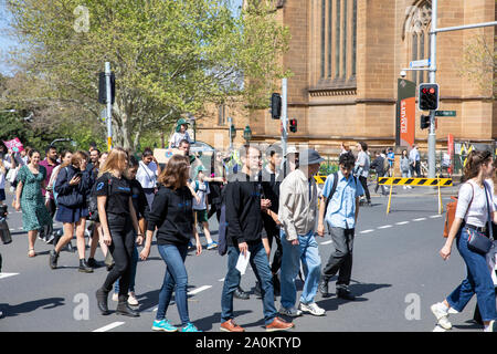 Sydney, Worldwide climate change strike protest taking taking place in the Domain in Sydney city centre,New South Wales,Australia - Stock Photo