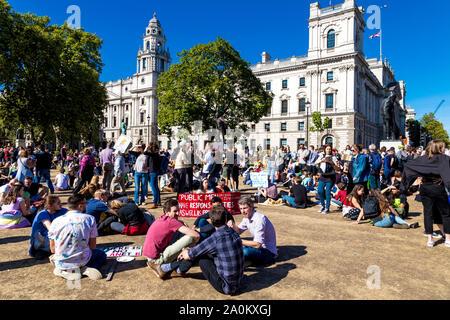 20 September 2019, London, UK - Global Climate Strike in Westminster - Stock Photo