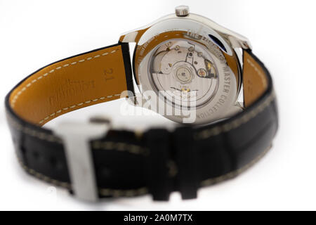 Saint-Imier, Switzerland September 15 2019 - Longines Master Collection men watch with leather strap and black dial swiss made luxury wrist mechanical - Stock Photo
