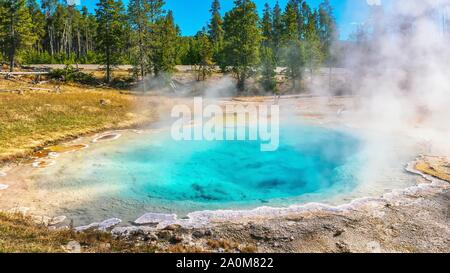 The clear turquoise blue water and rising steam of Silex Spring at Fountain Paint Pot in the Lower Geyser Basin of Yellowstone National Park. Wyoming, - Stock Photo