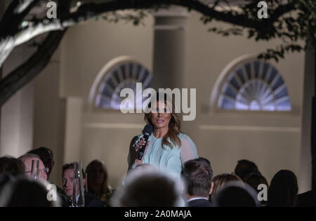 First Lady Melania Trump greets guests as U.S. President Donald Trump hosts  Australian Prime Minister Scott Morrison and Mrs. Morrison to the White House in Washington, DC for a state dinner Friday, September 20, 2019.      Photo by Tasos Katopodis/UPI - Stock Photo