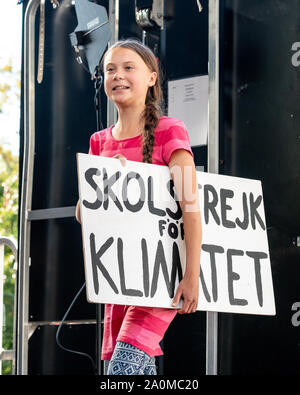 New York, USA. 20th Sep, 2019. Swedish activist Greta Thunberg enters the stage to address a Climate Strike rally in New York City. Sign in Swedish reads: ' school march for the climate' Credit: Enrique Shore/Alamy Live News - Stock Photo
