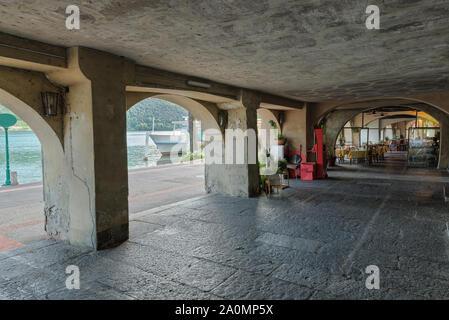 Lake Lugano, historic center and lakefront of Morcote, Switzerland - Stock Photo