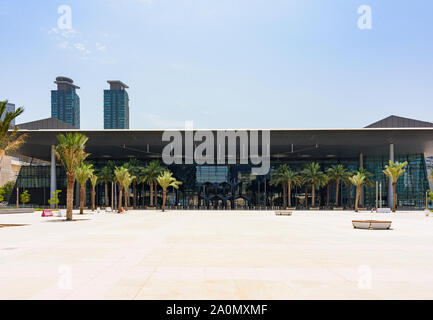 Views of the forecourt of the Doha Exhibition and Convention Center known as DECC, Doha, Qatar - Stock Photo