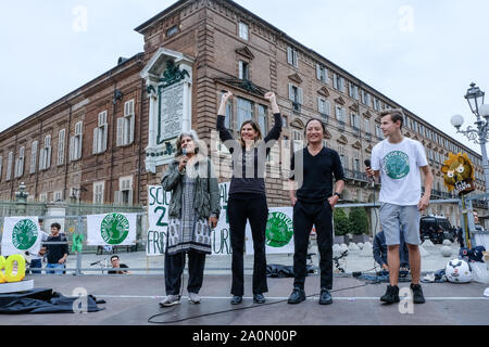 Torino, Italy. 20th Sep, 2019. Today in Piazza Castello Turin Italy, the boys of the Fridays for future movement together with international lawyers and activists, Farhana Yamin, Katie Redford and Ka Hsvaw Wa. (Photo by Bruno Brizzi/Pacific Press) Credit: Pacific Press Agency/Alamy Live News - Stock Photo