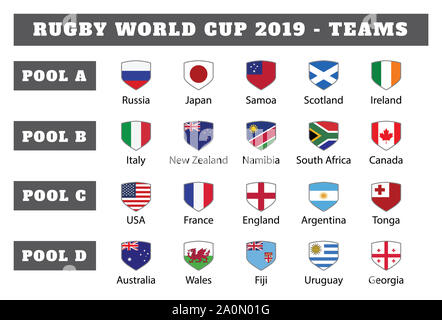 Rugby 2019. All pools and flag of rugby tournament in Japan - Stock Photo