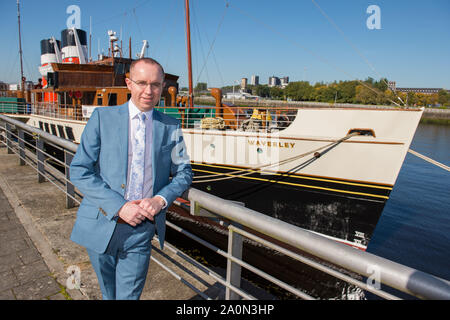 Strictly Embargoed until 00:00 21st Sept 2019.  PICTURED: Paul Semple - General Manager, Waverley Excursions.  The last sea-going paddle steamer in the world will receive £1 million of Scottish Government funding to help it sail again, Culture Secretary Fiona Hyslop has announced.  Credit: Colin Fisher/Alamy Live News - Stock Photo