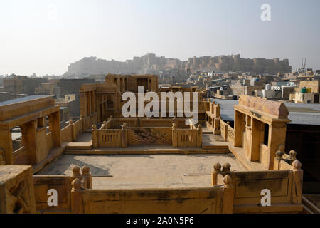 View of Jaisalmer Golden Fort  from roof top of Kothari's Patwon ki Haveli at Jaisalmer in Rajasthan, India - Stock Photo