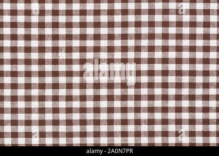 Brown checkered fabric, tablecloth texture. High quality texture in extremely high resolution. - Stock Photo