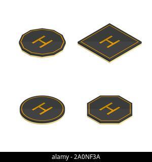 Set of various helipad icons isolated on white background. Flat 3D isometric style, vector illustration. - Stock Photo