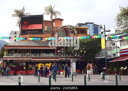 QUITO, ECUADOR - AUGUST 6, 2014: Azuca Latin Bistro and Chelsea restaurant-bar-lounge on Plaza Foch in Quito, Ecuador - Stock Photo