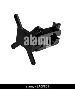 Monitor mount isolate on a white background. Black detail mount printed on a 3D printer. - Stock Photo