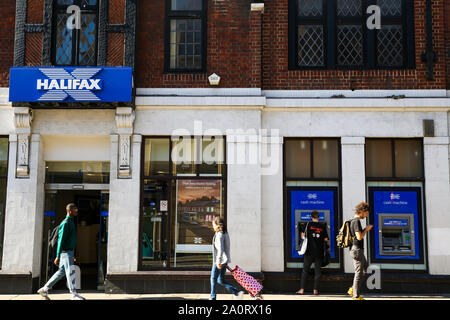 September 21, 2019, London, United Kingdom: An exterior view of Halifax UK in central London. Halifax is a British bank operating as a trading division of Bank of Scotland, a wholly owned subsidiary of Lloyds Banking Group. (Credit Image: © Dinendra Haria/SOPA Images via ZUMA Wire) - Stock Photo
