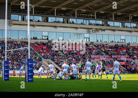 Salford, UK. 21st September 2019; AJ Bell Stadium, Salford, Greater Manchester, England; English Premiership Rugby, Sale Sharks versus Northampton Saints; rugby at the AJ Bell stadium Credit: Action Plus Sports Images/Alamy Live News - Stock Photo