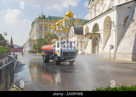 MOSCOW, RUSSIA - AUGUST 31, 2019: Sunny August morning in the Moscow Kremlin - Stock Photo