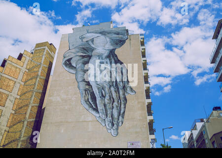 City Athens,  Greek Republic. Buildings with graffiti on the wall. Urban street. 11. Sep. 2019