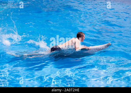 A young man is riding dolphin on the back, boy swimming with dolphin in blue water in water pool, sea, ocean, dolphin saves a man - Stock Photo