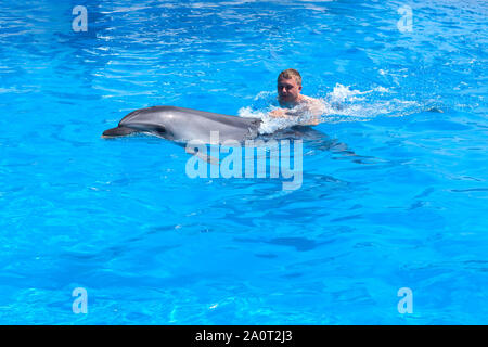 A young man is riding dolphin, boy swimming with dolphin in blue water in water pool, sea, ocean, dolphin saves a man - Stock Photo