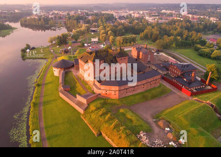 Hameenlinna fortress-prison in the early July morning (shot from a quadcopter). Finland - Stock Photo