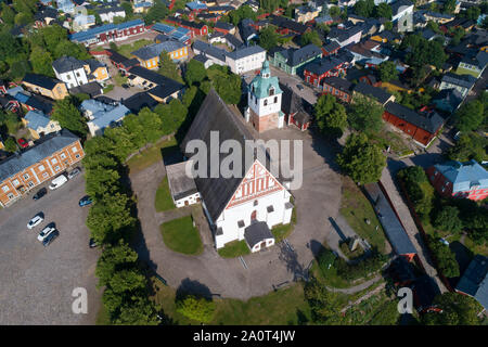 A view from the height of the medieval Lutheran cathedral in the historic center of Porvoo. Finland - Stock Photo