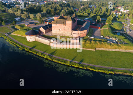 View of the old fortress-prison of the town of Hameenlinna on a sunny July morning. Finland - Stock Photo